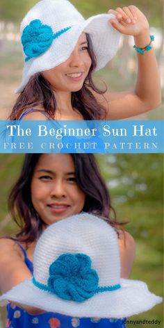 Beginner Wide Brim Sun Hat #FreeCrochetPattern | #CrochetHat | size: any | Written | US Terms Level: beginner  hook: 3.5 mm yarn: Lion Brand Vanna's Choice Yarn Author:  by jennyandteddy