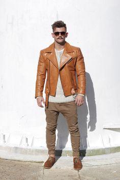 Menswear fashion leather Moto jacket