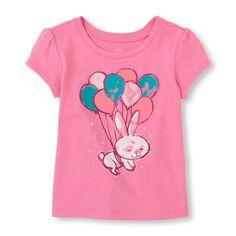 Short Sleeve Bunny & Balloons Graphic Tee