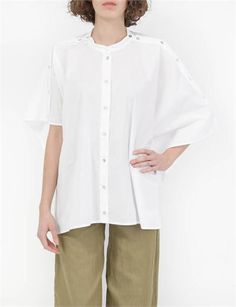 MM6 Muslin Draped Top- White