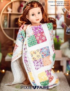 Take a glimpse into the with Rosie's Windows - a simple, yet authentic patchwork design. With a bright white sash and selection of colorful, floral prints, Rosie's Windows echoes the designs and fabric choices used by quilters during the Great Depres Sewing Patterns For Kids, Doll Clothes Patterns, Doll Patterns, Quilt Patterns, American Girl Outfits, American Girls, Girl Doll Clothes, Girl Dolls, Ag Dolls