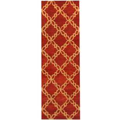 Herat Oriental Indo Hand-tufted Tibetan Rust/ Beige Wool Runner (2'6 x 8')