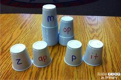 use cups to help students build word families