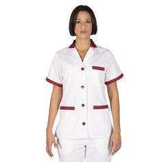532 - bata limpieza blanca de mujer en manga corta y con botones combinada con burdeos