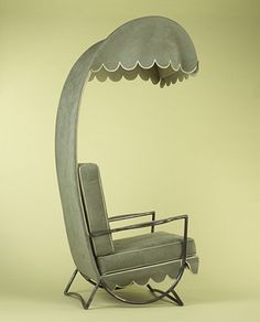 Jean Royere, Canopy Lounge Chair in Steel and Suede, Designed for Princess Shahnaz (daughter of the Shah of Iran), 1959.