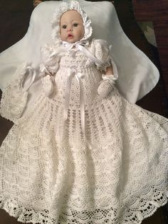 5 crochet patterns of christening gowns at a by PatternsbyHalina