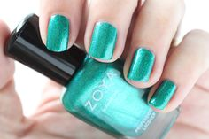 Zoya Paradise Sun Swatches Selene Green Teal Shimmer Nail Polish #EverydayZoya