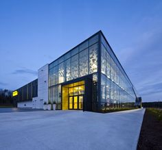 "Completed in 2011 in Sherbrooke, Canada. Images by Stéphane Groleau. The mandate of the ""Centre de foires de Sherbrooke"" (Exhibition Center of Sherbrooke) conducted by CCM² - Côté Chabot Morel Architects includes site. Central Hall, Site Plans, Canada, Space Architecture, Main Entrance, Exhibition Space, Quebec City, Glass Blocks, Second Floor"