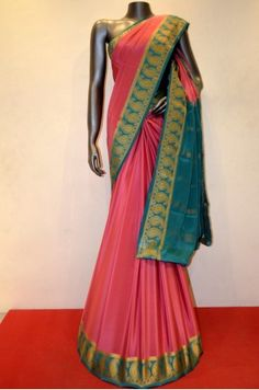 Beautiful Peach Pink Pure Mysore Crepe Silk With Traditional Contrast Border
