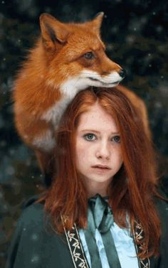 Fairytale Portraits Of Redheads With A Red Fox By Uzbek - Russian photographer takes enchanting fairytale photos featuring wild animals