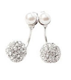 Double sided crystal and pearl earrings