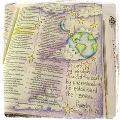 Illustrated faith or Journaling bible entry for the book of Proverbs for illustrated faith (#illustratedfaith) on Instagram check out the rest under Fischtales on instagram Proverbs 3:19-20