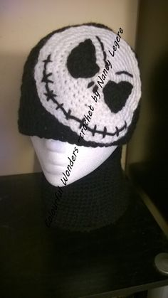 Jack Skeleton crochet hat and neck warmer made by Nancy Legere Nightmare Before Christmas