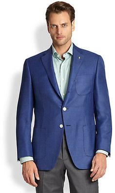$1,198, Collection Two Button Basketweave Wool Sportcoat by Saks Fifth Avenue. Sold by Saks Fifth Avenue. Click for more info: http://lookastic.com/men/shop_items/37205/redirect