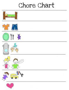 Chore chart for kids, free printable