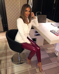 Visit our site for more Fashion and Trendy Outfits Mode Des Leggings, Pvc Leggings, Shiny Leggings, Colorful Leggings, Leggings Are Not Pants, Hot Outfits, Fashion Outfits, Leather Tights, Latex Pants