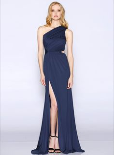 Ganda Dress. A stunning full length dress by Les Demoiselle. A one shoulder style featuring ruching on the bodice and key hole on the side waist. #whiterunway