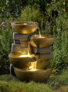 Dualing Bowls Water Fountain with Lights - Garden Fountains & Outdoor Decor Garden Water Fountains, Outdoor Fountains, Water Gardens, Small Fountains, Diy Water Fountain, Fountain Lights, Zen Gardens, Tabletop Fountain, Fountain Ideas