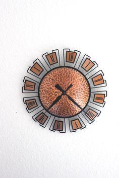 Mid Century Modern WIGO Kupfer Wanduhr Clock von MellowPlace