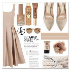 """""""Dressy"""" by francoflorenzi ❤ liked on Polyvore featuring Chi Chi, Gianvito Rossi, New Look, Sun Bum, Too Faced Cosmetics, NARS Cosmetics, Accessorize and Yves Saint Laurent"""