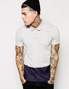 ASOS Polo Shirt With Woven Hem Panel