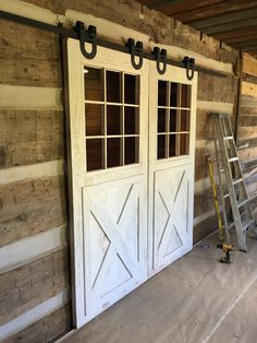 Barn wood doors that we painted and distressed