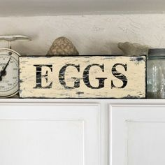 Items similar to SALE, Distressed Vintage-style EGGS sign on Etsy Do It Yourself Furniture, Do It Yourself Home, Pallet Art, Pallet Signs, Rustic Signs, Wooden Signs, Wooden Decor, Country Signs, Primitive Signs