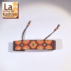 Bracelet tissé SEVENTIES marron, orange et or