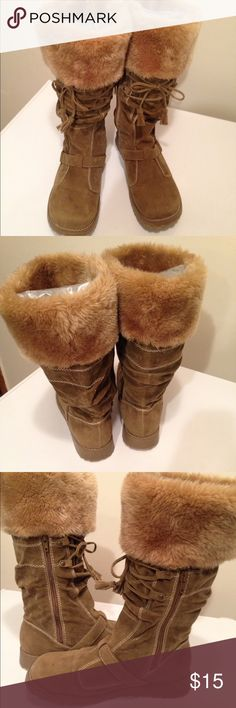 Ginger Winter Boots 🆕NWOT-These Ginger winter boots have been sitting on my daughters closet! Never worn as seen in pic 4. Soles are untouched. Faux fur and suede, inside zipper closure and tie front. Super cute paired with skinny jeans or Legging. Size:8 Ginger Shoes Winter & Rain Boots