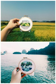 Landscape embroidery cross stitch, Sew Wanderlust by Teresa Lim Modern Embroidery, Silk Ribbon Embroidery, Embroidery Hoop Art, Cross Stitch Embroidery, Embroidery Patterns, Thread Art, Fabric Art, Cross Stitching, Textile Art
