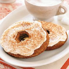 Topped with creamy icing and a dusting of cinnamon, a coffee-flavored cappuccino doughnut is the ideal companion to the frothy beverage that inspired it.Recipe: Cappuccino Doughnuts