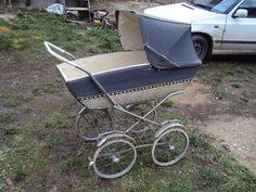 Starý kočárek pro miminko Prams, Baby Strollers, Retro, Blue And White, Children, Vintage, Archive, Baby Prams, Kids