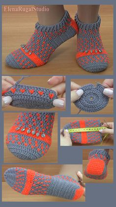 In this time I will show you how to make crocheted slippers with popcorn sttiches. This slipper made of 2 colors, popcorn stitches and with crochet hook. Easy Crochet Slippers, Crochet Slipper Pattern, Crochet Sandals, Crochet Boots, Crochet Clothes, Knit Slippers Free Pattern, Felted Slippers, Crochet Designs, Crochet Patterns