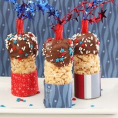 Firecracker Rice Krispies ~ Snap , Crackle, Pot this Fourth of July! from grinandbakeit.com