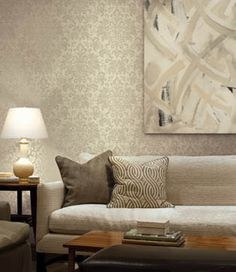 Wallpaper living room on pinterest damasks damask wall for Damask wallpaper living room ideas