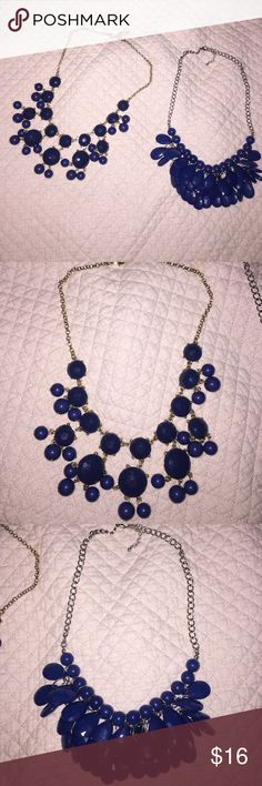 Navy blue necklace bundle BUNDLED statement necklaces. One is silver and navy and the other is gold and navy Jewelry Necklaces