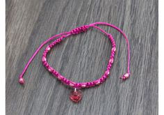 Pink Heart Charm Adjustable Bracelet - Hand Crafted Jewelry by VeriteJewelry.com
