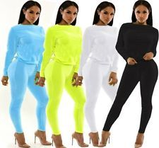 2016 Donna Tuta 2 PZ Felpa+Pantalone Pantaloni Casual Sport Yoga Completo