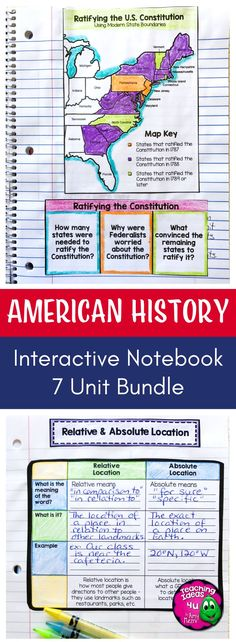 Interactive Notebook American History Bundle - Let your 4th, 5th, or 6th grade classroom or home school students use these printables, scaffolded notes, and interactive notebooks to master United States Geography through Westward Expansion. You get maps, graphic organizers, essential questions, vocabulary, and more. Topics include US Geography, Native Americans, explorers, Colonial America, American Revolution, US Government & Civics, and more. {upper elementary, fourth, fifth, sixth…