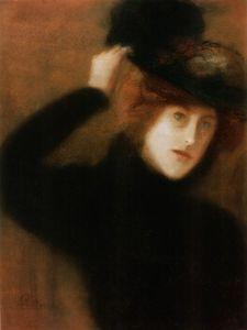 Jozsef Rippl Ronai - молодой Парижский  Женщина  с  цветочек  шляпа