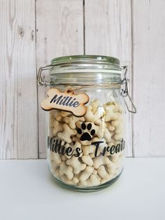 Cute personalised dog treat jar for only Dog Photo Frames, Little Girl Pictures, Sweet Jars, Dog Treat Jar, Bff Birthday Gift, Gotcha Day, Personalised Frames, Food Platters, Jar Gifts