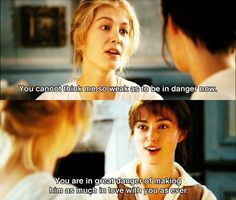 Pride & Prejudice Movie, Pride And Prejudice Quotes, Jane Austen Books, Mr Darcy, Rosamund Pike, Romance Movies, Keira Knightley, Period Dramas, Movie Quotes