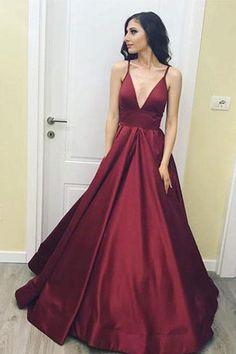Simple V-Neck Floor-Length Satin Burgundy Prom Dress with Pockets PG485