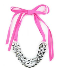 Silver Sparkle and Pink Ribbon Necklace $68.00