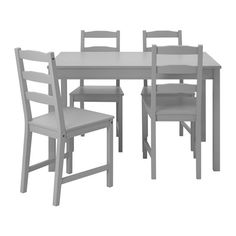 IKEA JOKKMOKK Table and 4 chairs Grey Solid pine; a natural material that ages beautifully.