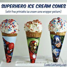 #Superhero Printables - DIY Superhero ice cream cone wrappers, tutorial and free wrapper pattern.