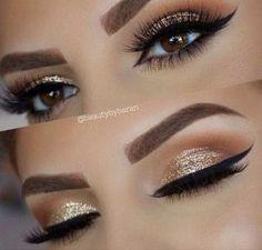 Gold Glitter Wedding Eye Makeup Look                                                                                                                                                      More