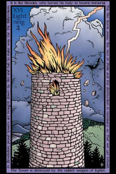 XVI. The Tower - Tarot of the Sevenfold Mystery by Robert M. Place