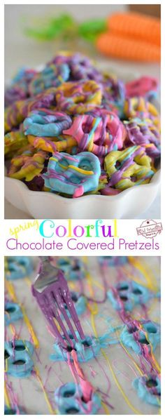 Easy and Colorful Spring Chocolate Covered Pretzel Bite Treats - The perfect salty sweet & yummy treat for Spring, Easter and Mother's Day! White chocolate covered pretzels that are so yummy and fun for the kids to help make and eat - Luau Party Games, Party Fiesta, Snacks Für Party, Snacks Kids, Party Recipes, Kids Party Treats, Slumber Party Crafts, Party Sweets, Parties Food