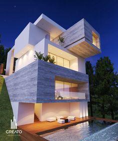 Casa La Toscana en Monterrey Nuevo León #FACHADA POSTERIOR  de Creato Arquitectos